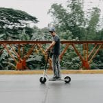 Man Riding Scooter Safely
